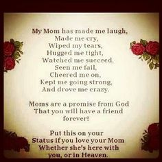 I LOVE MY MOM SO MUCH AND I'M JUST SO VERY HAPPY THAT MY GOD ABOVE LET ME HAVE HER AS A MOTHER!! MY MOM IS WITH LORD JESUS IN HEAVEN NOW AND I KNOW THAT I WILL BE IN HEAVEN ONE DAY AND WHAT JOY THAT I HAVE NO WORDS FOR WHEN I SEE MY MOM AGAIN!! I CAN'T WAIT TO GET THERE AND SEE HER FACE TO FACE!!