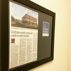 """""""Cochrane Unveils Commercial Condo in Prime Location"""" Our @calgaryherald article from David Parker all framed up and looking pretty. Thank you, David, for the excellent profile on our Meadows Mile Professional Centre. """"[CDC has] an exciting project on their hands, and they are already contemplating similar developments in other cities across the country"""" ***Link to article in description*** #yycre #inprint #onthemile"""