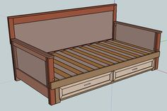 Daybed that pulls out to a queen size.