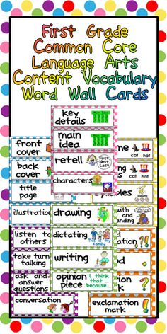 First Grade Common Core Language Arts Content Vocabulary Word Wall Cards $