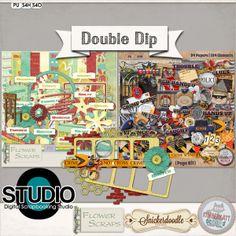 Double Dip: Busted  #theStudio  #digitalscrapbooking #kimberkattscraps #snickerdoodledesigns #flowerscraps