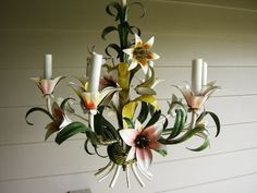 Not many things are as pretty for the home as Vintage Italian Tole - gorgeous hand painted electrified floral candelabra - imagine this in a little girl's room, or porch.  Wow.