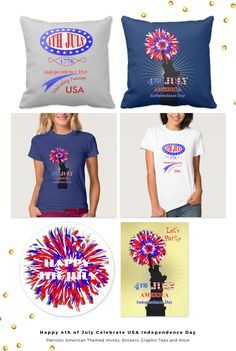 Happy 4th July to all those celebrating the historic event in 1776 American Independence Day. Red white and blue colors of the USA Flag, party stickers, invites, patriotic gifts, pillows and graphic tees.