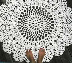 "Ecru Off White Cotton Crochet Rug in Large 42"" Circle Pineapple Lacy Pattern Non Skid. $100.00, via Etsy."