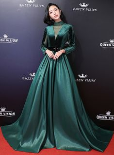 In Stock:Ship in 48 Hours Dark Green Satin High Neck Long Sleeve Prom Dress - Long prom dresses Dark Green Prom Dresses, Green Satin Dress, Prom Dresses Long With Sleeves, Emerald Green Dress Prom, Gowns With Sleeves, Gala Dresses, Modest Dresses, Pretty Dresses, Designer Dresses