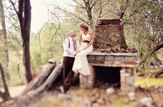 bride and groom by old fireplace #bohemian