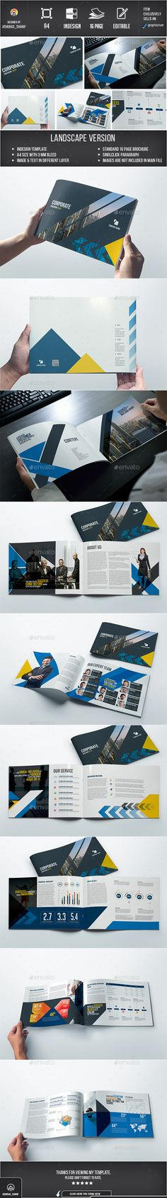 Buy Brochure by ashuras_sharif on GraphicRiver. Corporate brochure template are 16 pages which mm size, suitable for corporate business agency or company. Corporate Brochure Design, Creative Brochure, Brochure Layout, Brochure Template, Page Layout Design, Book Layout, Book Design, Design Web, Print Design