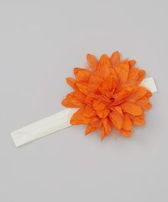 Take a look at this Ivory & Orange Tulle Flower Headband by Truffles Ruffles on #zulily today!