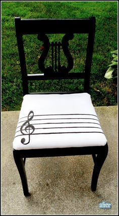 kinda cool for an at-home music room? Piano Bench, Piano Room, Furniture Makeover, Diy Furniture, Music Furniture, Chair Makeover, Outdoor Furniture, Outdoor Decor, Home Music