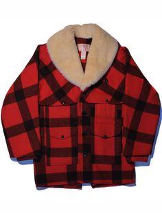 Filson Double Mackinaw Shearling Packer Coat Sz 40 Red Plaid Wool Jacket Cruiser #Filson #PackerCoat