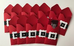 Handmade Santa Treat Pouches, Set of Stampin' Up, Christmas, Party Favors by JuliesPaperCrafts on Etsy Christmas Crafts To Make And Sell, Christmas Craft Fair, Christmas Crafts For Adults, Christmas Paper Crafts, Christmas Mood, Simple Christmas, Christmas Treat Bags, Christmas Gift Card Holders, Christmas Favors