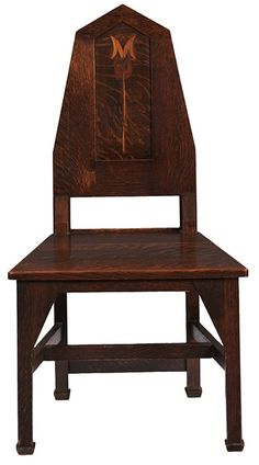 """Shop of the Crafters, inlaid hall chair, Cincinnati, OH, oak, fruitwood inlays, 21.5""""w x 19""""d x 40""""h"""