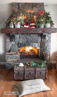Old trunk coffee table / A reclaimed wood deer Christmas mantel on FunkyJunkInteriors.net #12days72ideas