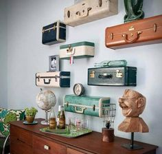 Here is a creative use for some old suitcases, possibly found out in the garage or up in the attic, or at a thrift store. Bonus - there's extra storage space inside each case!
