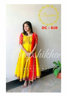 DC - Beautiful yellow and red color combination ankle length anarkali dress with red net dupatta. anarkali dress with hand embroidery thread work. For queries kindly WhatsApp: 91 9059683293 . Salwar Designs, Kurta Designs Women, Kurti Designs Party Wear, Frock Design, Deepshikha Creations, Ikkat Dresses, Kalamkari Dresses, Mode Bollywood, Long Gown Dress