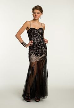 Long Illusion Mesh Dress with Leaf Beading from Camille La Vie and Group USA #blackdresses