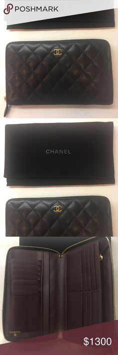 Chanel Travel Wallet Beautiful chanel wallet in caviar and gold hardware. Interior in burgundy leather. Excellent condition. Like new. Comes with dustbag CHANEL Bags Wallets
