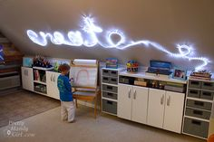 *Create with white christmas lights so they can simply be stapled/taped/stuck to the wall in the shape? & Wayyy less expensive - * How to Create Rope Light Word Wall Art