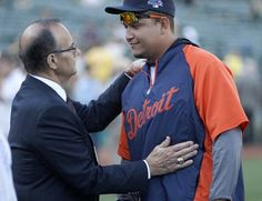 Former New York Yankee manager Joe Torre talks to Detroit Tigers Miguel Cabrera during batting practice prior to the start of game 2 of the ALDS playoffs against the Oakland Athletics at the Coliseum, Saturday, Oct 5, 2013.