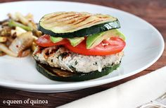 Herbed Turkey Burgers with Grilled Zucchini Buns