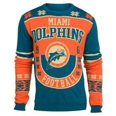 Miami Dolphins Cotton Retro Sweater from UglyTeams