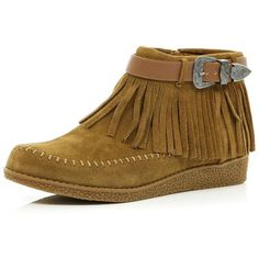 River Island Light brown moccasin ankle boots ($69) ❤ liked on Polyvore