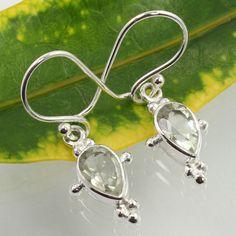 Girl's New Fashion Earrings 925 Sterling Silver Natural GREEN AMETHYST Gemstones #SunriseJewellers #DropDangle