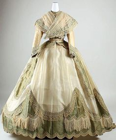 """Costume from """" . of Act written/composed by Erik Daniel Lenoir (Dress Date: ca. 1865 Culture: French Medium: silk Accession Number: The Metropolitan Museum of Art). Civil War Fashion, 1800s Fashion, 19th Century Fashion, Victorian Fashion, Vintage Fashion, Victorian Era, Steampunk Fashion, Gothic Fashion, Robes Vintage"""