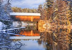 """""""Babbs Covered Bridge"""" by brentdanley on Flickr ~ Babbs Bridge spans the Presumpscot River in Maine."""