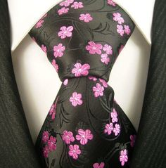 Great for the Cherry Blossom festivels here in DC Black  Pink Floral NeckTie