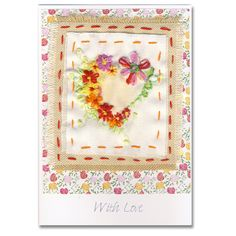 Luxury Hand Embroidered Greeting Card Heart and Flowers, Greetings Cards Online Beautiful Handmade Cards, Unique Cards, Thank You Gifts, Colorful Flowers, Hand Stitching, Heart Shapes, Stitches, Greeting Cards, Hearts