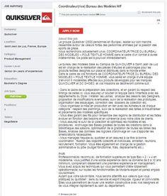Quiksilver is looking for a Coordinateur(rice) Bureau des Modèles! #sportjob #quiksilver #sportyjob