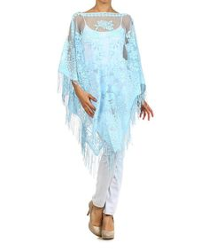 Look what I found on #zulily! Light Blue Lace Fringe Long-Sleeve Poncho #zulilyfinds
