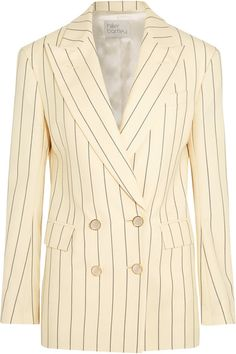 Hillier Bartley - Double-breasted Pinstriped Wool-twill Blazer - Cream - UK