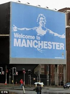 Manchester City billboard advertising their dedication to the Manchester United Football Club City Of Manchester Stadium, Manchester United Football, Manchester City Wallpaper, Zen, Sports Marketing, Salford, Blue City, Life Is An Adventure, Blue Moon