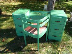 SALE  Vintage Vanity or Desk Mid Century Modern by DustandAll, $300.00