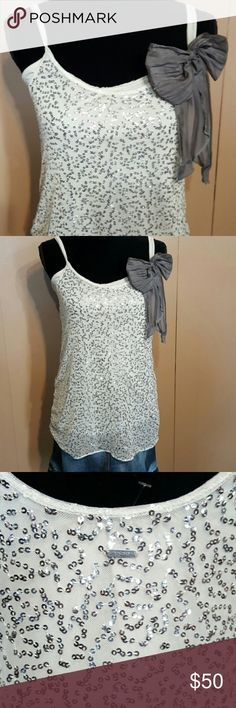 Abercrombie & Fitch Sequin Tunic Silver Beautiful.  Seize Medium.  Worn once! Abercrombie & Fitch Tops Tunics