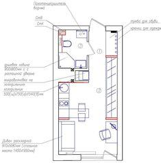 Дизайн интерьера маленькой студии 22 кв. м.