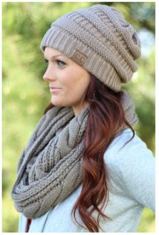 Knit beanie style hat Taupe