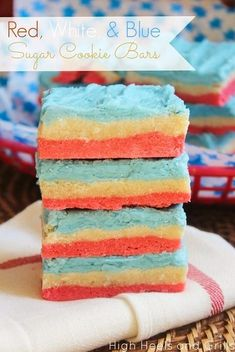 Red White and Blue Sugar Cookie Bars from High Heels and Grills