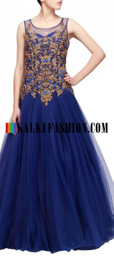 Buy Online from the link below. We ship worldwide (Free Shipping over US$100) http://www.kalkifashion.com/blue-gown-featuring-with-embroidered-bodice-only-on-kalki.html Blue gown featuring with embroidered bodice only on Kalki