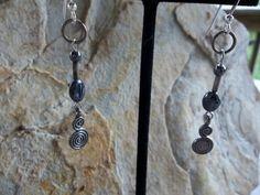 Hematite healing dangle earrings on sterling by RoseFireDesigns, $18.00