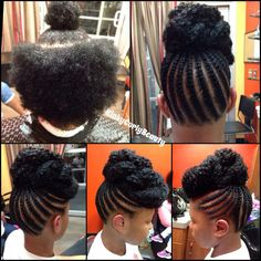 Cant wait for my hair to be long enough for this.half braided then marley hair bun.quick and safe protective style Pelo Natural, Natural Hair Updo, Natural Hair Journey, Natural Hair Care, Natural Hair Styles, Protective Hairstyles, Braided Hairstyles, Braided Updo, Protective Styles