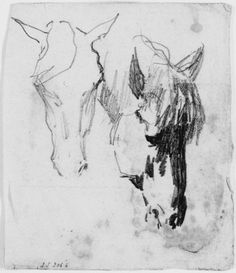 John Singer Sargent - Two Studies of Horses | Harvard Art Museums..