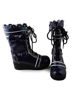 Beautiful Navy Blue& White Boots