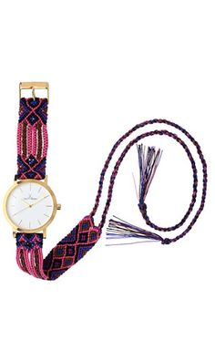 ToyWatch reinvents the classic friendship bracelet with the Maya Watch Collection. Inspired by the exotic embroidered textiles of Mexico and South America, Maya features a colorful handwoven cotton strap with extending tassels that can be tied or tucked to your individual liking. The gold watch case has a white and champagne dial and a secret, hidden gem -- the ancient Symbol of the Sunstone is engraved on the back of the case. Available in four color palettes -- sea blue, rain forest green…