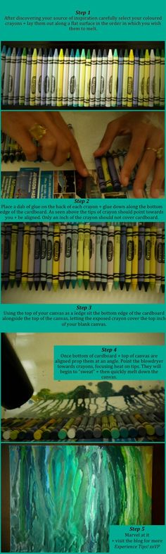 How to make melted crayon art...without gluing the crayon to the canvas - Click image to find more DIY & Crafts Pinterest pins
