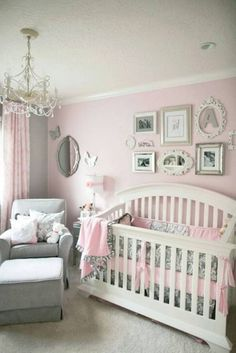 pink grey baby girl bedroom/love the frame idea
