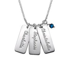 Personalized Name Tag Necklace with Swarovski Custom Made with any Name Sterling Silver 22 Inches *** For more information, visit image link.