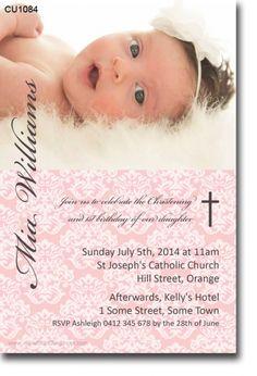 CU1084 - Damask Christening Invitation - Girls - Christening & Baptismal Invitations - Invitations 2 Impress